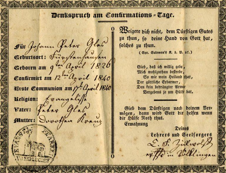Confirmation certificate for Johann Peter Glass