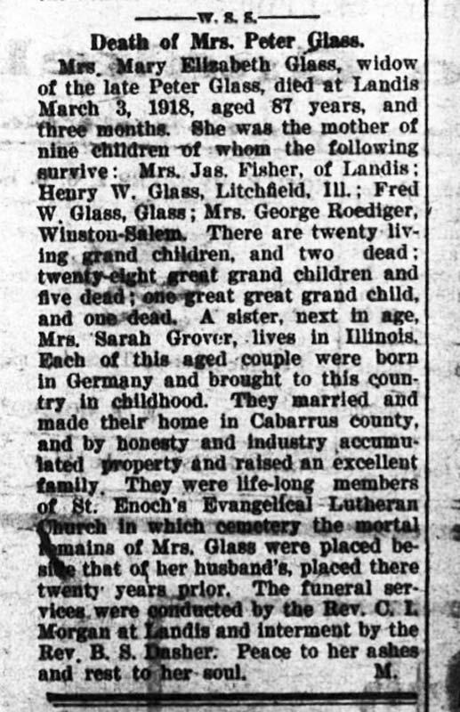 Obituary - Mary Elizabeth Cline Glass