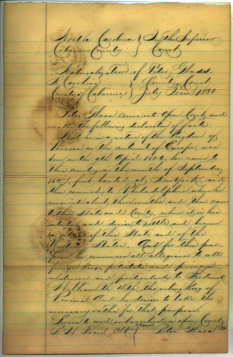 Johann Peter Glass naturalization papers - 1 of 4