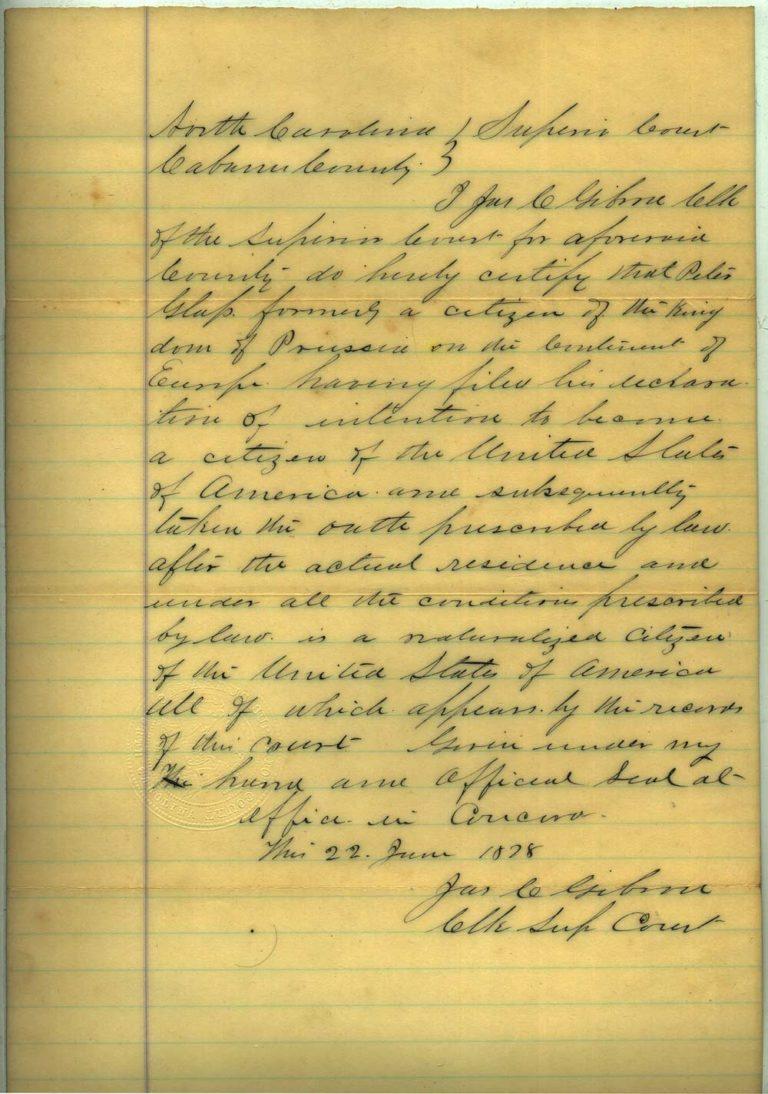 Johann Peter Glass naturalization papers - 3 of 4