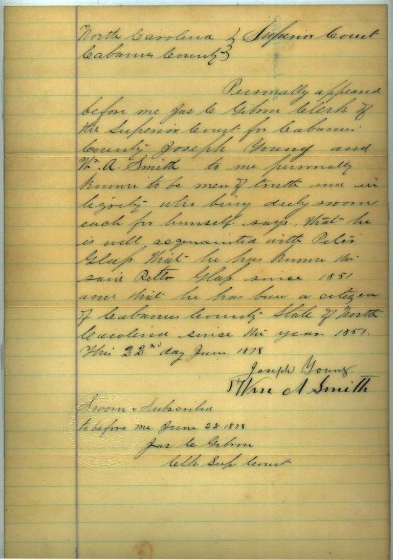 Johann Peter Glass naturalization papers - 4 of 4