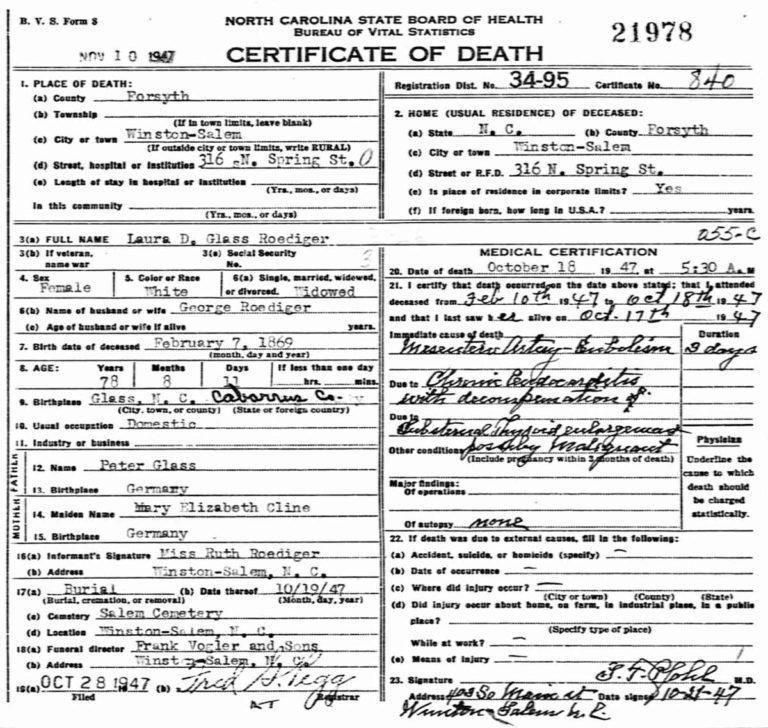 Death certificate - Laura Glass Roediger