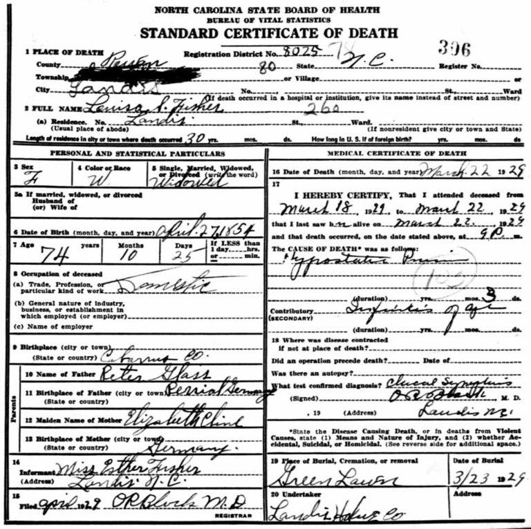 Death certificate - Louisa Glass Fisher