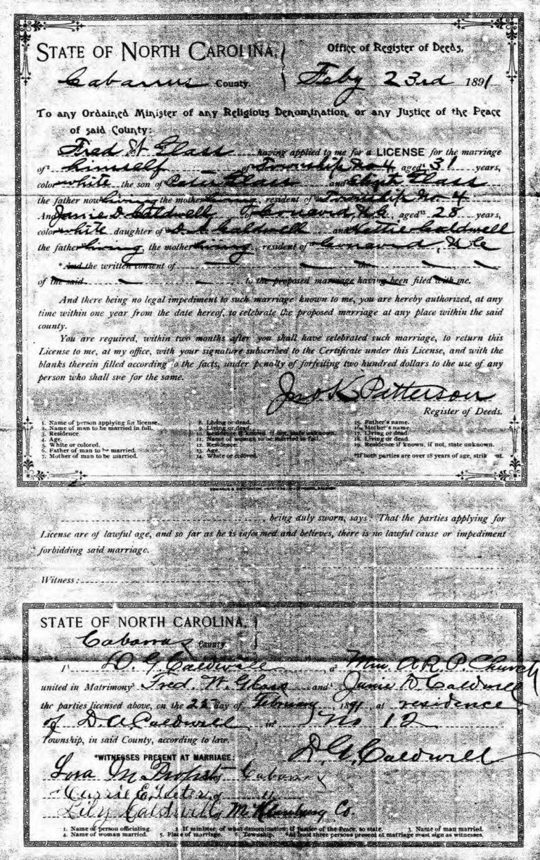 Frederick & Janie marriage certificate