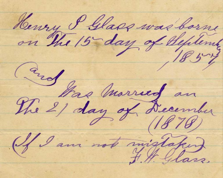 Notes from Henry's brother Frederick
