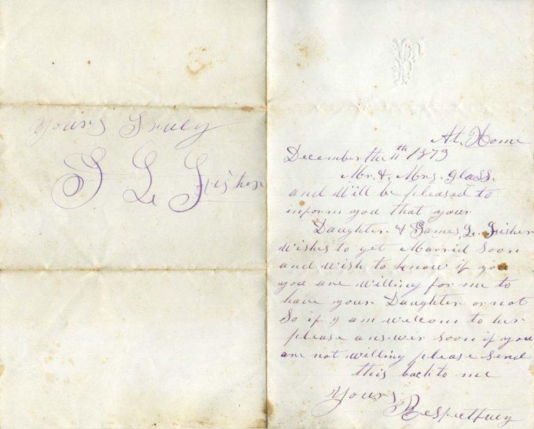 James Fisher asking Johann Peter & Elizabeth for Louisa's hand
