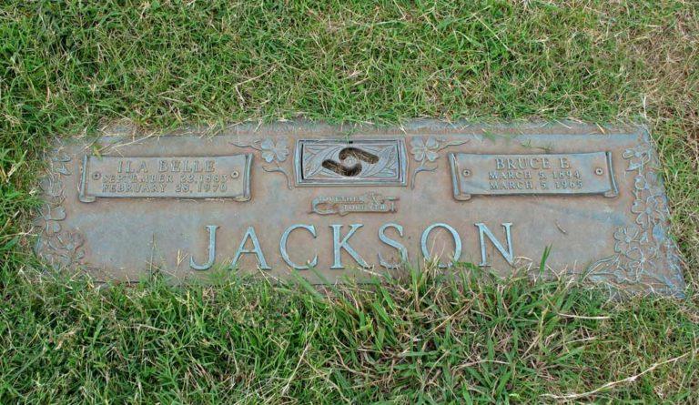 Ila Belle & Bruce Earnest Jackson headstone