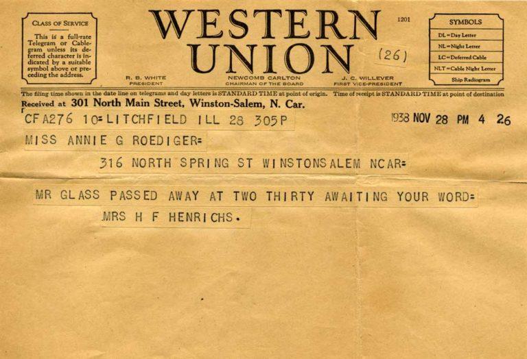 Telegram announcing Henry's death