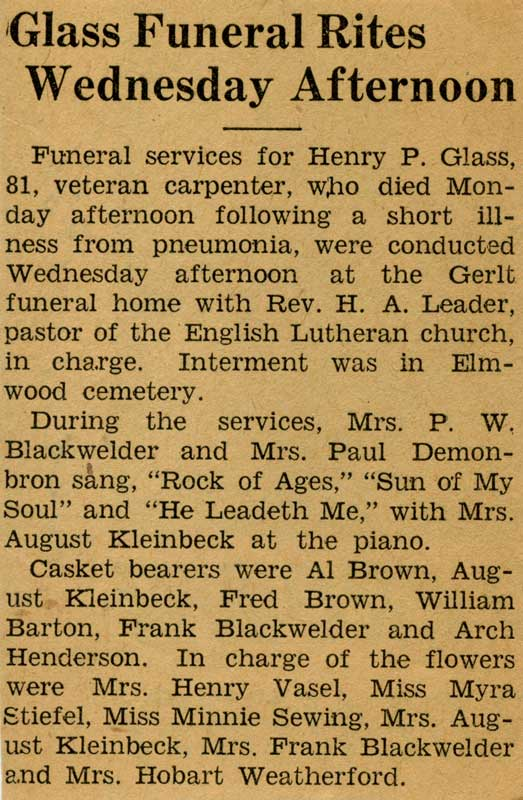 Henry Glass funeral announcement
