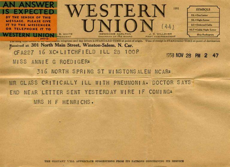 Telegram announcing Henry's illness