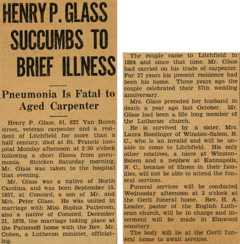 Henry Peter Glass obituary