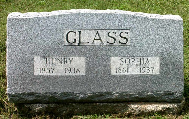 Henry Peter and Emma Sophia Glass headstone