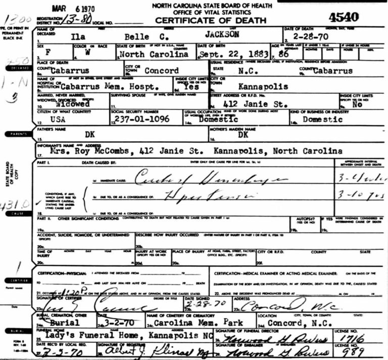 Ila Belle Chambers Jackson death certificate