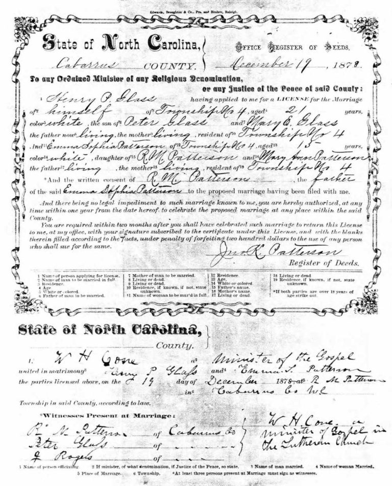 Marriage record of Henry Glass & Emma Sophia Patterson