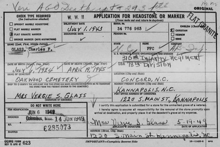 Charles Frank Glass - application for headstone