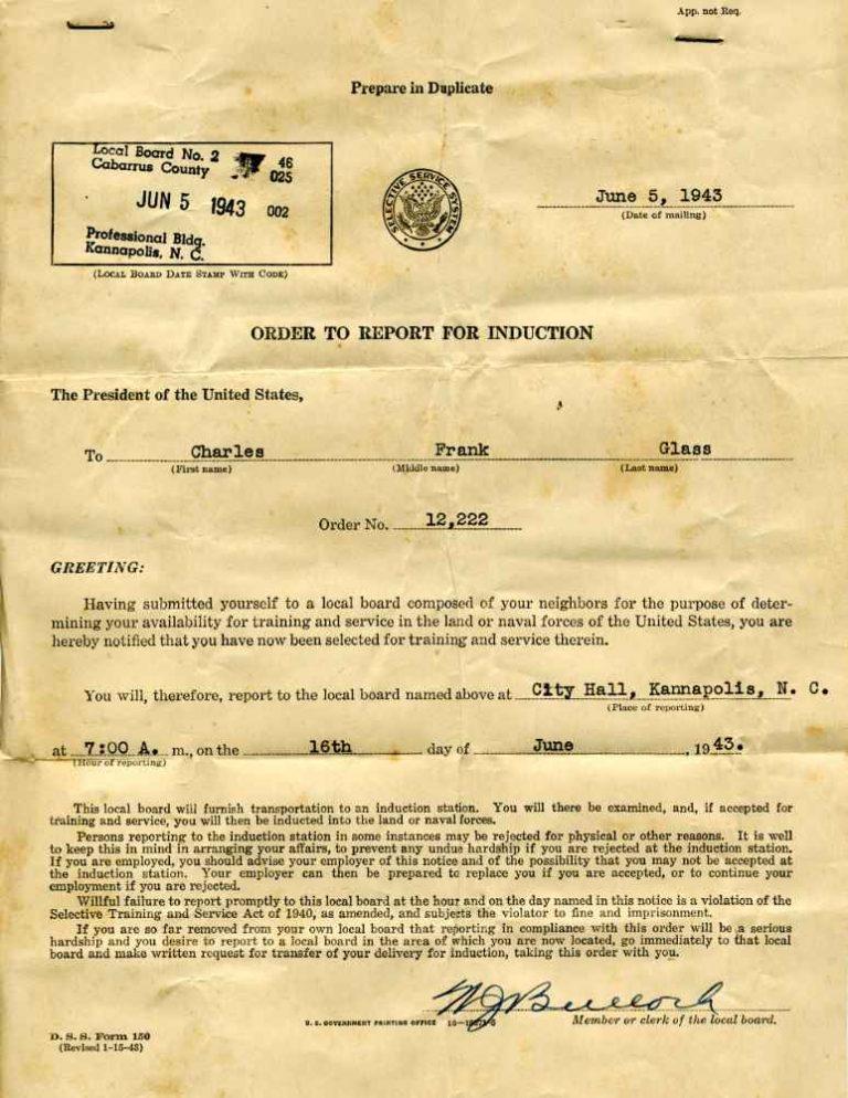 Draft notice, June 5, 1943