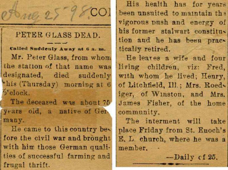 Johann Peter Glass obituary