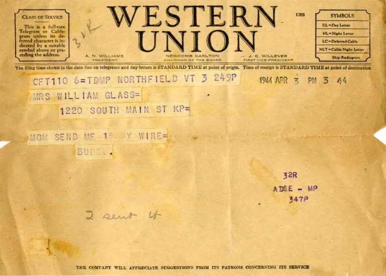 Telegram from flight school in Vermont requesting $15 from Mom in April 1944