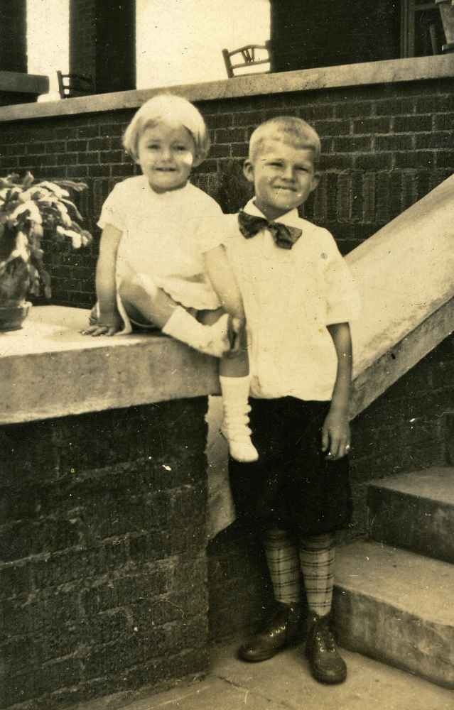 Betty with Bill at the front steps