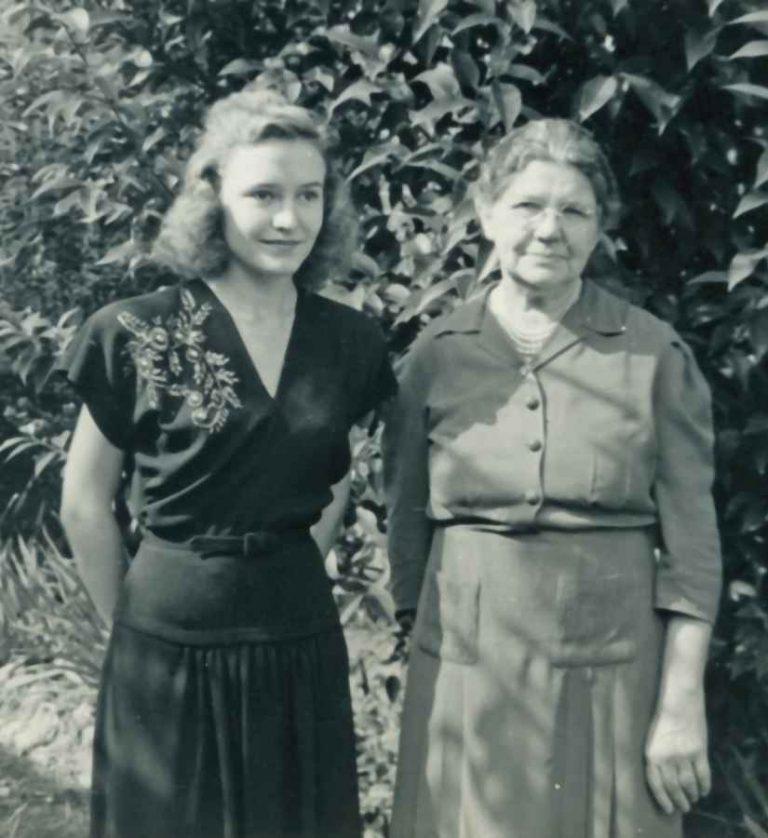 Betty with her mother in the garden