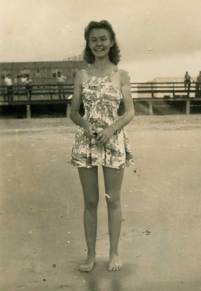 Betty as a teenager on the beach