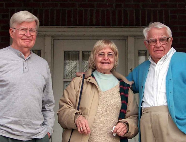 Bill, Betty and James on the front porch