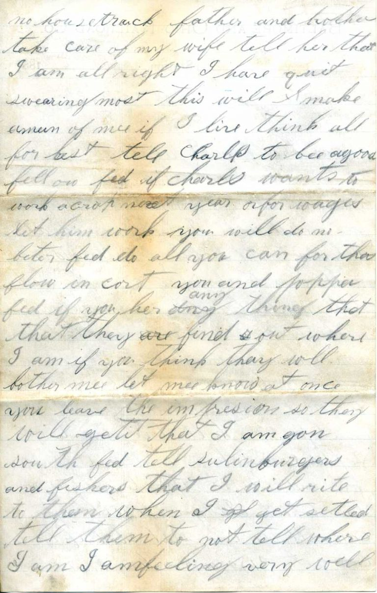 Henry leaving town letter - page 2