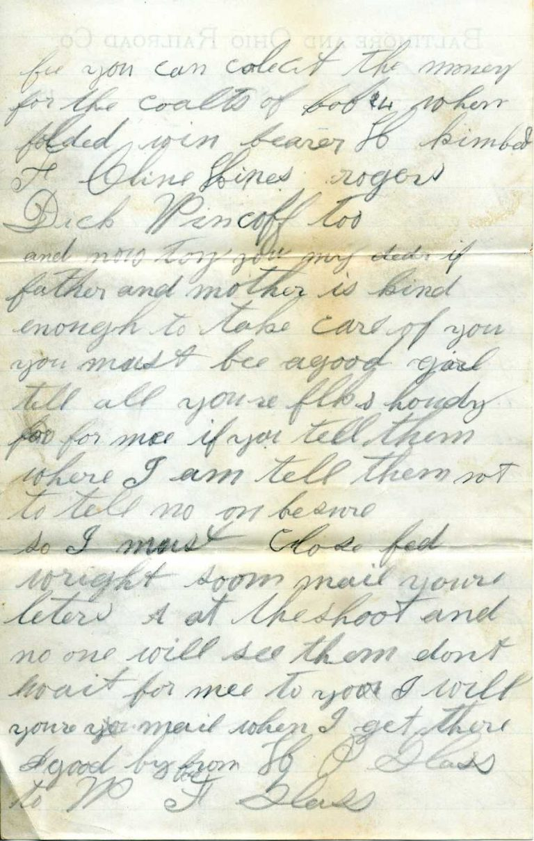 """Henry """"leaving town"""" letter - page 4"""